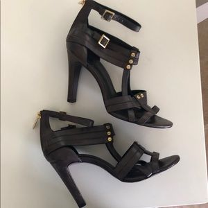 Tory brown leather heels with gold accents 7 1/2 M